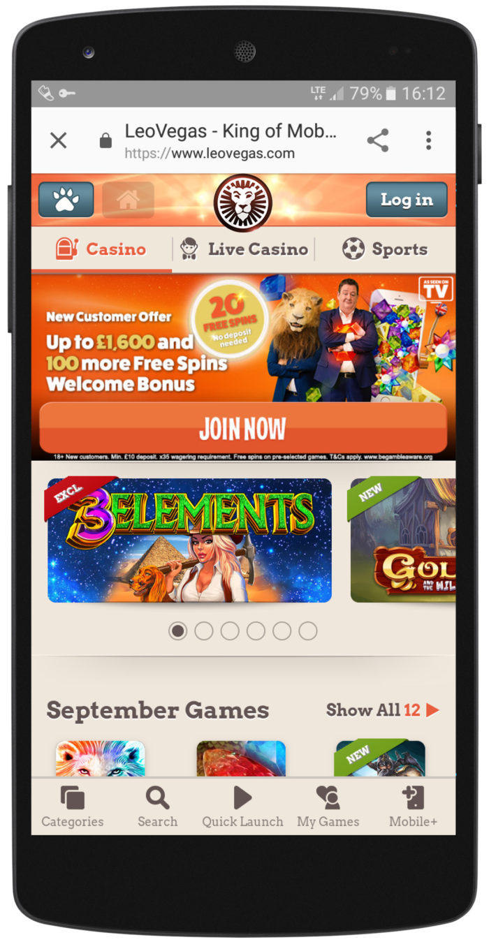 Leo Vegas Mobile Casino - Home Page