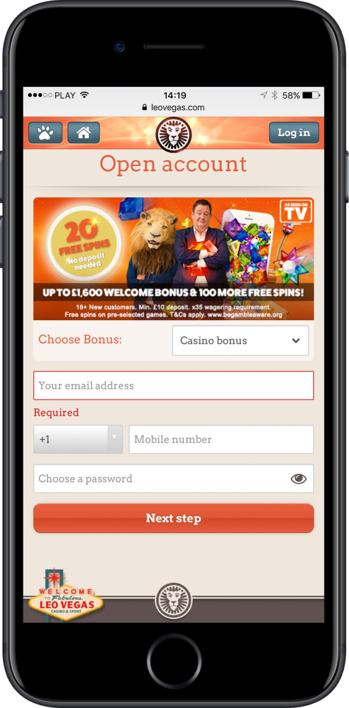 Leo Vegas Mobile Casino - registration page on iPhone