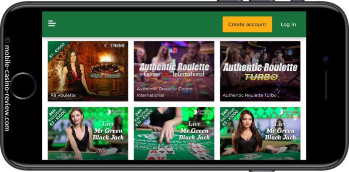 Mobile Casino Review - Mr Green - Live Casino Lobby