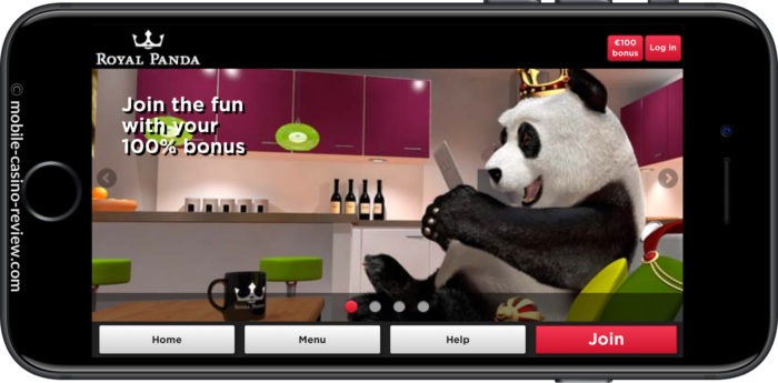 Mobile Casino Review - Royal Panda - Mobile Casino Lobby