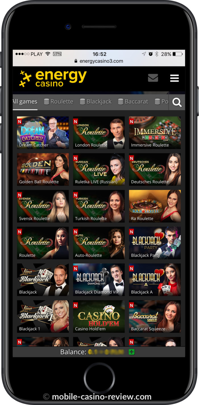 Mobile Casino Review - EnergyCasino - Mobile Live Games iPhone Vertical Mode