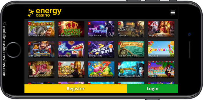 Mobile Casino Review - EnergyCasino - Mobile Lobby iPhone Horizontal Mode
