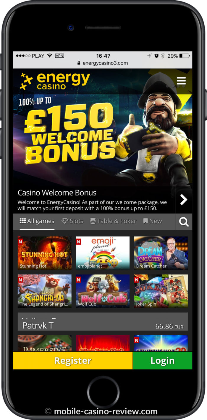 Mobile Casino Review - EnergyCasino - Mobile Lobby iPhone Vertical Mode