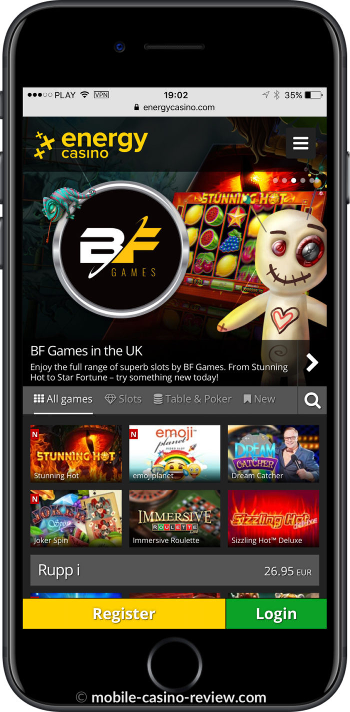 Mobile Casino Review - Energy Casino - mobile version lobby for iPhone
