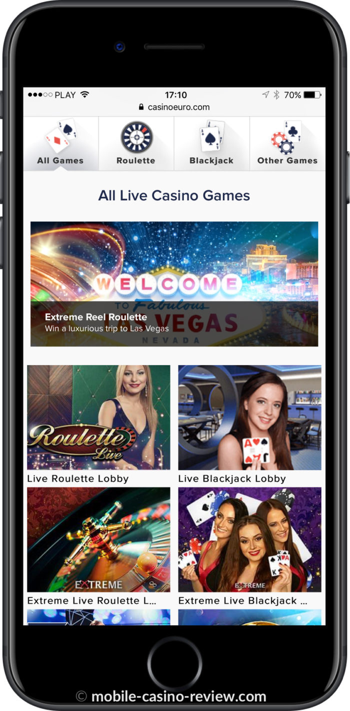 Mobile Casino Review - Casino Euro Live Dealer Mobile Lobby