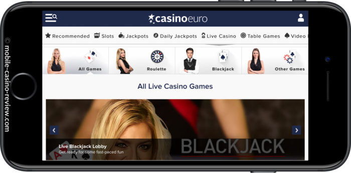Mobile Casino Review - Casino Euro -Live Dealer Games Lobby - Horizontal Mode
