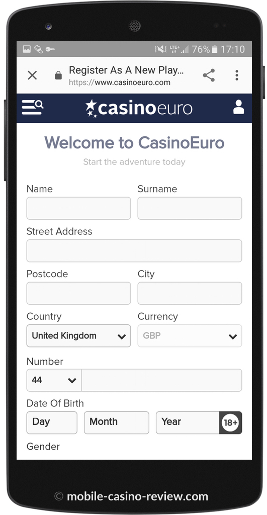 Mobile Casino Review - Casino Euro - Registration Form