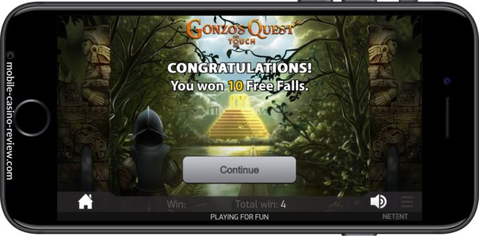 MobileCasinoReview_GonzosQuest_Slot_FreeSpinAwarded