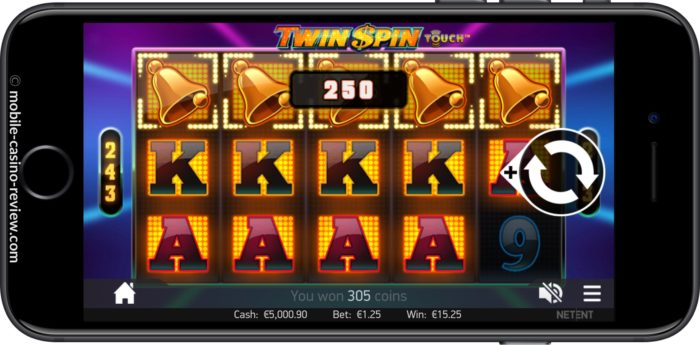 Twin Spin Slot - Mobile Version Horizontal - Big Win Four Reels
