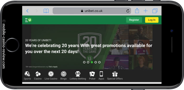 Mobile Casino Review - Unibet - 20 years online Promotion