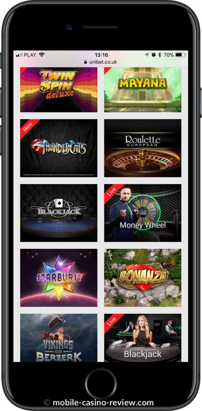Mobile Casino Review - Unibet - Mobile Games Selection