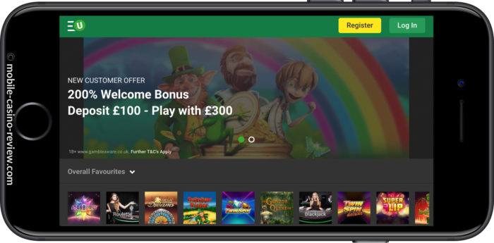 Mobile Casino Review - Unibet - Mobile Casino Lobby Horizontal Mode