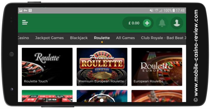 Mobile-Casino-Review_MrGreen_MobileRoulette_GameSelection