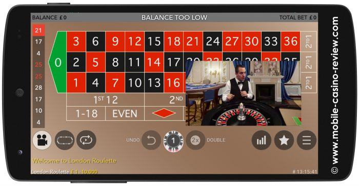 Live Mobile Roulette at Casino Royal Panda
