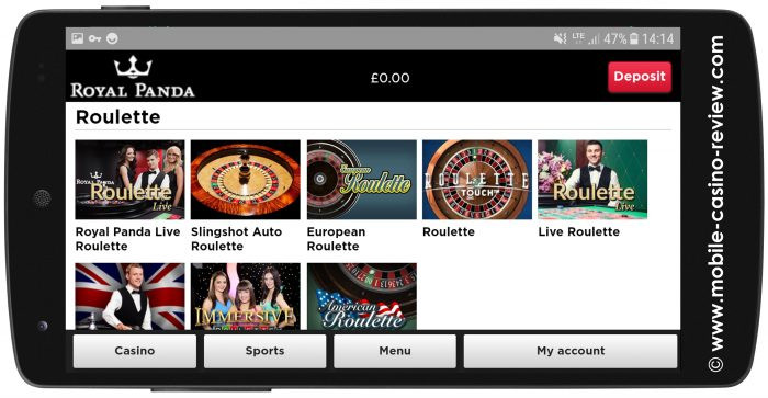 Mobile Roulette at Casino Royal Panda