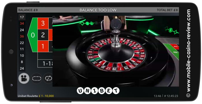 Mobile Roulette at Unibet Casino