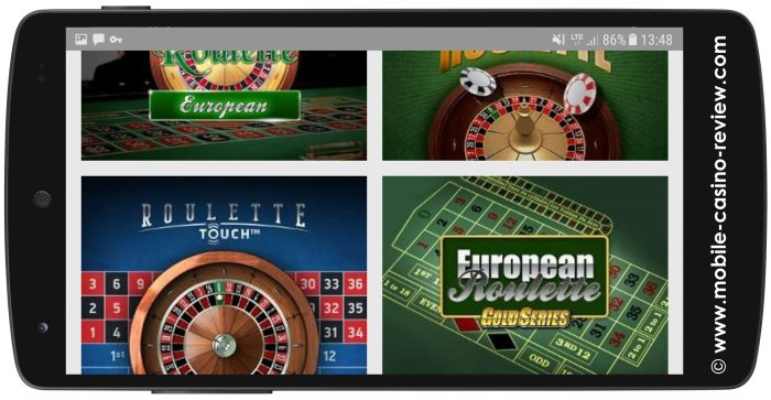 Unibet - Mobile Roulette Selection